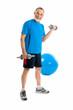 senior man lifting weights during gym workout