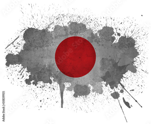 Japan grunge flag paint splatter