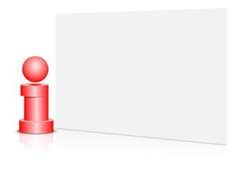 information, karte, blank, rot