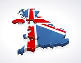 Map of United Kingdom 3D (white background)