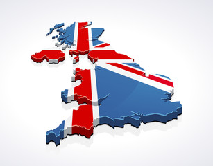 Map of United Kingdom 3D (white background)