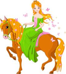 Princess riding horse. Spring