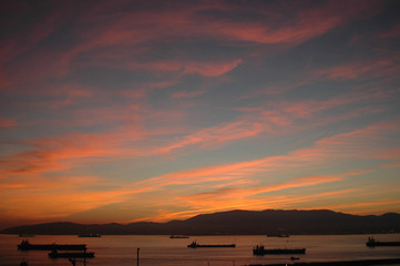 Sunset over the Straits of Gibraltar and Harbour