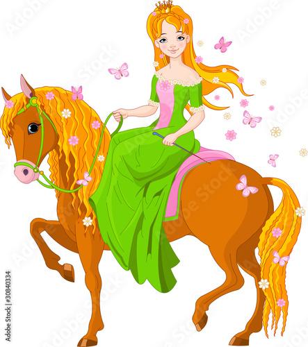 Poster Pony Princess riding horse. Spring