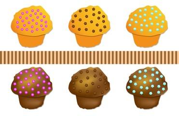 Set Muffin colorati, in vettoriale
