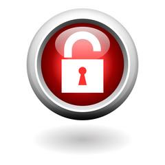 Red Round Unlocked Button
