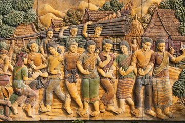 Thai style stucco background