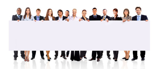 Business team with a banner isolated over a white