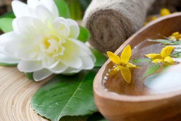 Spa setting with flower