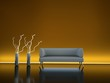 3d Rendering Sofa Neonschein orange