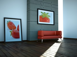 3d Rendering rotes Sofa
