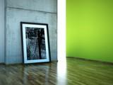 Atelier Bild vor Betonwand grün poster