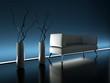 3d Rendering Sofa Neonschein blau Seite