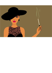 lady in a hat with cigarette