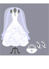 Dummy with wedding dress and accessories