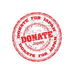Donate for Japan grunge rubber stamp