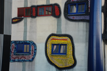 Hundertwasser district heating plant tower in Vienna, detail