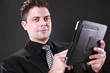 Businessman and his tablet pad