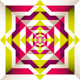 Psychedelic retro background with geometric shapes. poster