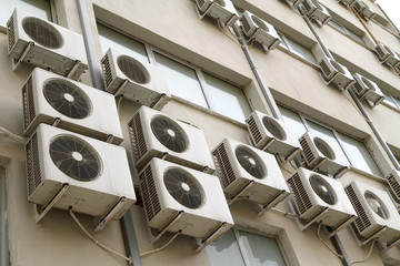 Air conditioning units on public building exterior