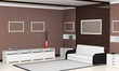 Modern interior of living room. 3d Image