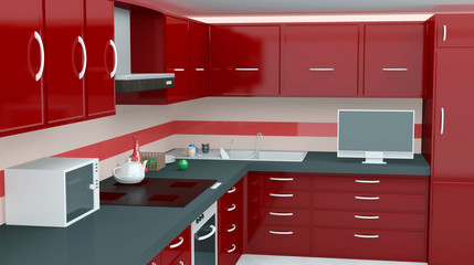 Modern kitchen in red color