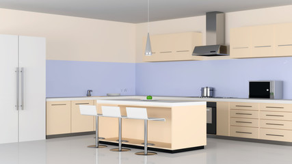 Modern Kitchen Interior in Light Tones