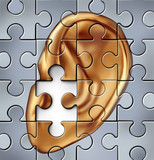 Hearing impairment and human ear symbol on a jigsaw puzzle