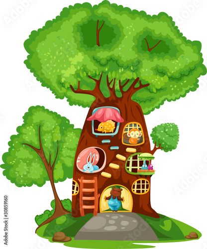 Foto op Canvas Bosdieren Tree house