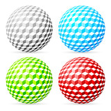 Variegated balls set on white background.