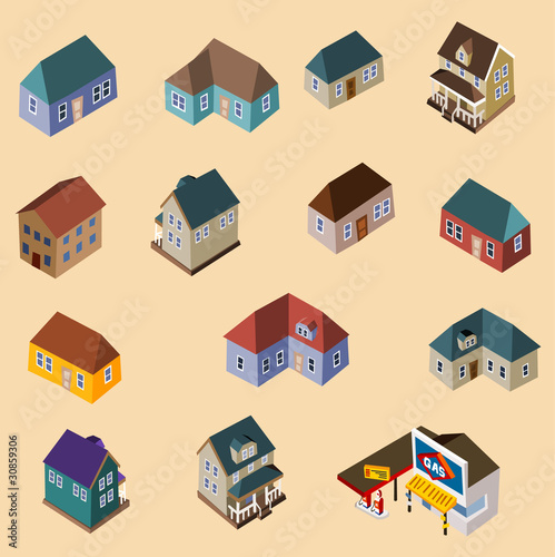 Set of Isometric Buildings and Houses