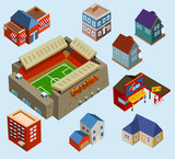 Buildings and Soccer Stadium in a city
