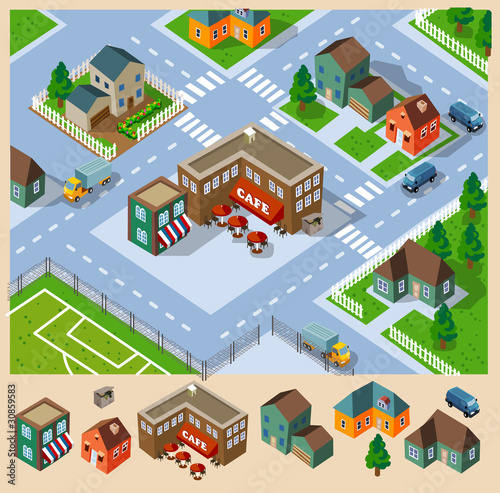Cafe and Neighborhood Isometric