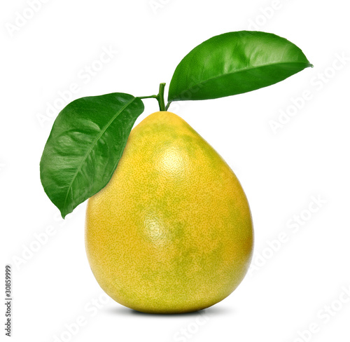 pomelo with two green leaves isolated on white background
