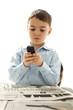 little boy using cell phone
