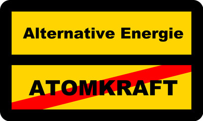 Straßenschild ATOMKRAFT / Alternative Energie