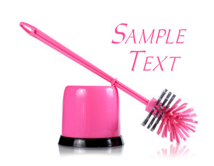 pink cleaning brush for toilet isolated on white