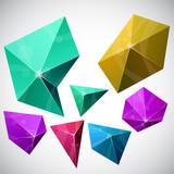Polygonal vibrant pyramid. poster