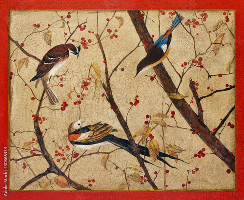 Leinwandbild Motiv Painting. Colorful birds on branches with red berries