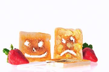Tostadas con mantequilla.