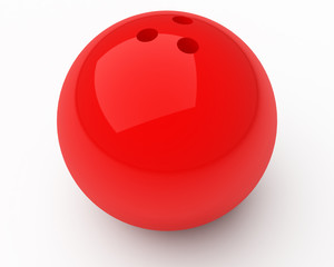 red bowling ball with slight shadow