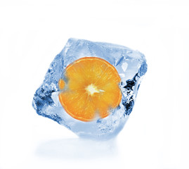 Orange slice in ice cube
