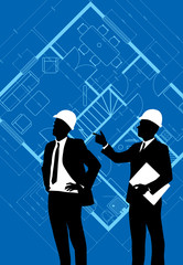 business people on blueprint background