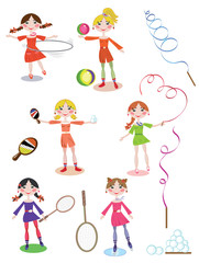 Active girls,set