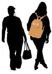 Women with bags and backpacks