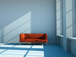 3d Rendering rotes Sofa im weissen Loft