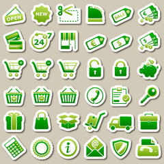 shopping Green Stickers