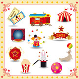 Funy circus icons poster