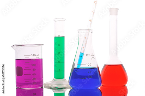 Laboratory glass on a white background
