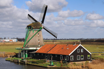 Traditional wind mill in Holland